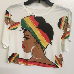 """African Print """"Super Cute"""" Crop Top"""